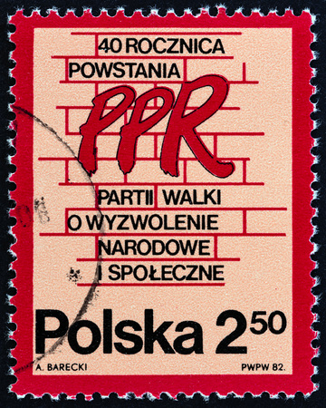 coalition: POLAND - CIRCA 1982: A stamp printed in Poland issued for the 40th anniversary of Polish Workers Coalition shows writing on wall, circa 1982.