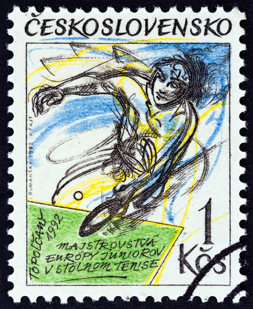 CZECHOSLOVAKIA - CIRCA 1992: A stamp printed in Czechoslovakia issued for the European Junior Table Tennis Championships, Topolcany, Slovakia shows player, circa 1992.