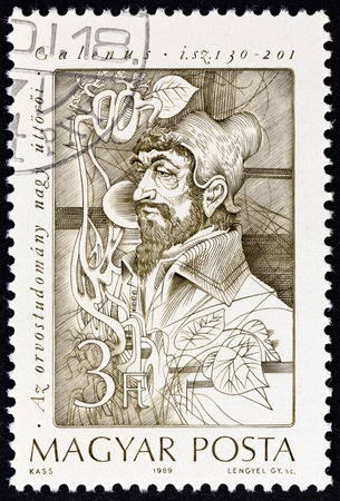 HUNGARY - CIRCA 1989: A stamp printed in Hungary from the Pioneers of Medicine 2nd series  issue shows Claudius Galenus anatomist and physiologist, circa 1989. Editorial