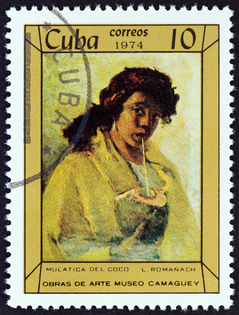 mulatto woman: CUBA - CIRCA 1974: A stamp printed in Cuba from the Paintings in Camaguey Museum  issue shows Mulatto Woman with Coconut by Leopoldo Romanach, circa 1974. Editorial