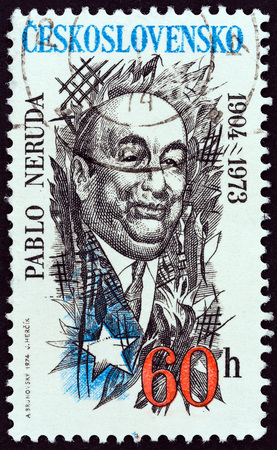 CZECHOSLOVAKIA - CIRCA 1974: A stamp printed in Czechoslovakia shows Pablo Neruda, Chilean poet, 70th birth anniversary, circa 1974. Editorial