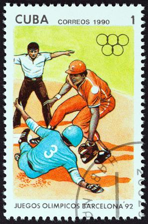 """deportes olimpicos: CUBA - alrededor de 1990: Un sello impreso en Cuba de los """"Juegos Ol�mpicos, Barcelona 1992"""" cuesti�n muestra b�isbol, alrededor de 1990. Editorial"""