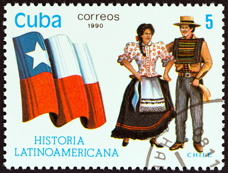 CUBA - CIRCA 1990: A stamp printed in Cuba from the Latin American History 5th series issue shows Flag and Traditional Costumes Chile, circa 1990.