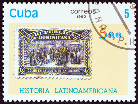CUBA - CIRCA 1990: A stamp printed in Cuba from the Latin American History 5th series issue shows Dominican Republic 1900 Columbus stamp, circa 1990.