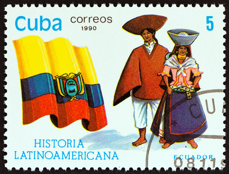 timbre: CUBA - CIRCA 1990: A stamp printed in Cuba from the Latin American History 5th series issue shows Flag and Traditional Costumes Ecuador, circa 1990.
