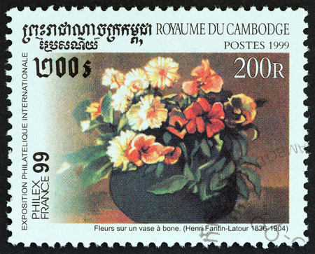 sello: CAMBODIA - CIRCA 1999: A stamp printed in Cambodia from the Philexfrance 99 International Stamp Exhibition, Paris. Paintings  issue shows Flowers in a Vase Henri Fantin-Latour, circa 1999.