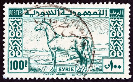 estampilla: SYRIA - CIRCA 1946: A stamp printed in Syria shows Arab Horse, circa 1946.