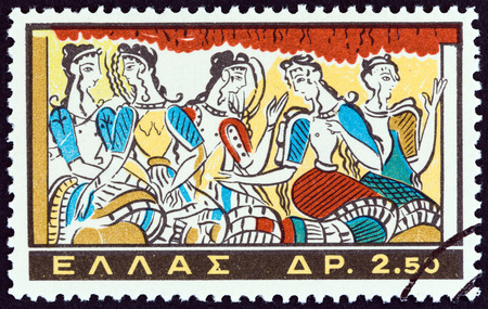 minoan: GREECE - CIRCA 1961: A stamp printed in Greece from the Minoan Art  issue shows Ladies of Knossos Palace painting, circa 1961. Editorial