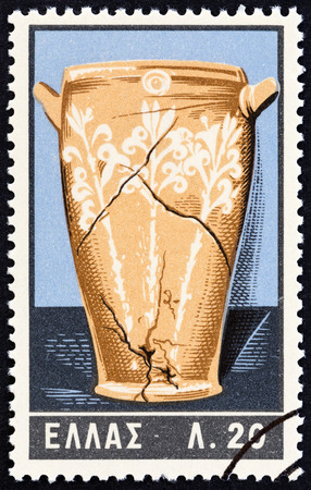 minoan: GREECE - CIRCA 1961: A stamp printed in Greece from the Minoan Art  issue shows Lilies Vase of Knossos, circa 1961.
