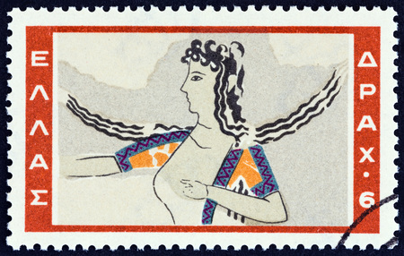 estampilla: GREECE - CIRCA 1961: A stamp printed in Greece from the Minoan Art  issue shows Knossos dancer painting, circa 1961.