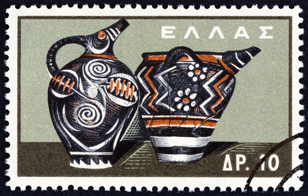 minoan: GREECE - CIRCA 1961: A stamp printed in Greece from the Minoan Art  issue shows Kamares prochus and pithos with spout, circa 1961.