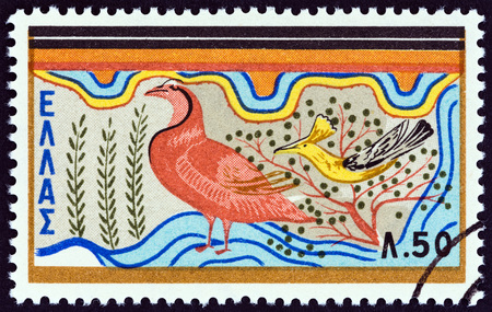 frieze: GREECE - CIRCA 1961: A stamp printed in Greece from the Minoan Art  issue shows Partridges and fig pecker, Knossos frieze, circa 1961. Editorial