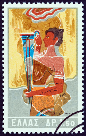 bearer: GREECE - CIRCA 1961: A stamp printed in Greece from the Minoan Art  issue shows Rhyton bearer, Knossos, circa 1961. Editorial