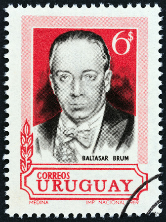URUGUAY - CIRCA 1969: A stamp printed in Uruguay issued for the 36th anniversary of the death of Baltasar Brum, 1883-1933 shows President Baltasar Brum, circa 1969.