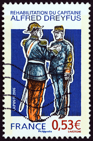 postes: FRANCE - CIRCA 2006: A stamp printed in France shows reinstatement of Captain Alfred Dreyfus, circa 2006.