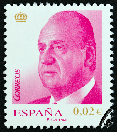 estampilla: SPAIN - CIRCA 2008: A stamp printed in Spain shows King Juan Carlos I, circa 2008. Editorial