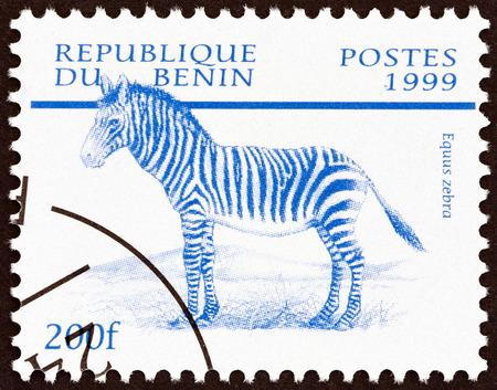 timbre: BENIN - CIRCA 1999: A stamp printed in Benin from the Mammals  issue shows Mountain zebra (Equus zebra), circa 1999.