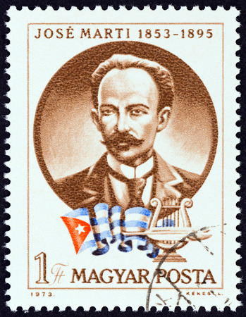 estampilla: HUNGARY - CIRCA 1973: A stamp printed in Hungary issued for the 120th birth anniversary of Jose Marti shows Cuban patriot Jose Marti, circa 1973.