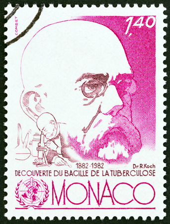postes: MONACO - CIRCA 1982: A stamp printed in Monaco issued for the 100th anniversary of discovery of Tubercle Bacillus shows Dr. Robert Koch, circa 1982.