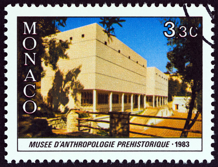 anthropology: MONACO - CIRCA 1983: A stamp printed in Monaco from the 50th Anniversary of Exotic Garden  issue shows Prehistoric Anthropology Museum, circa 1983. Editorial