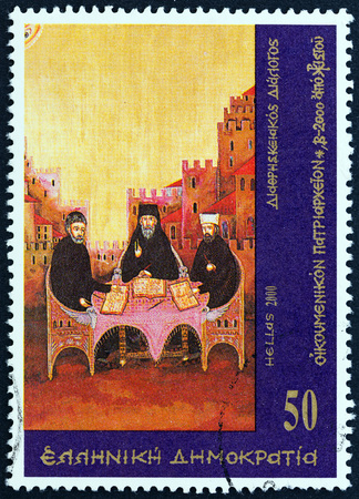 sello: GREECE - CIRCA 2000: A stamp printed in Greece from the 2000th Anniversary of the Birth of Jesus Christ  issue shows discussion between men of different denominations, circa 2000. Editorial