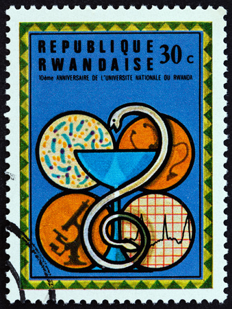 estampilla: RWANDA - CIRCA 1975: A stamp printed in Rwanda from the 10th Anniversary of National University, Kigali  issue shows Medicine, the Faculties, circa 1975. Editorial