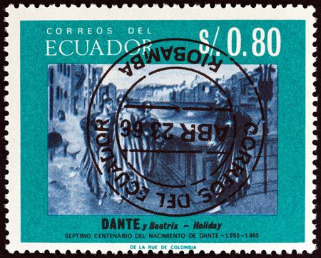 beatrix: ECUADOR - CIRCA 1966: A stamp printed in Ecuador shows Dante and Beatrice by Henry Holiday 700th birth cent., circa 1966.