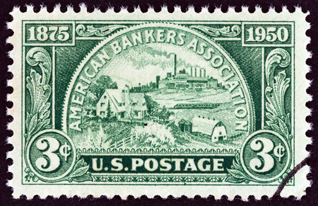 timbre: USA - CIRCA 1950: A stamp printed in USA issued for the 75th anniversary of American Bankers Association shows Coin, symbolizing fields of Banking Service, circa 1950.