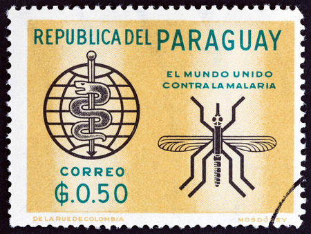 timbre: PARAGUAY - CIRCA 1962: A stamp printed in Paraguay from the Fight Against Malaria  issue shows Mosquito and W.H.O. emblem, circa 1962.