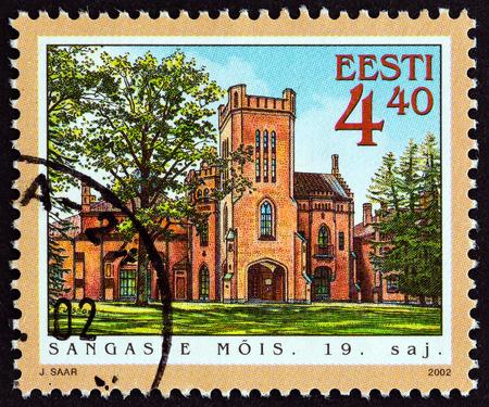 timbre: ESTONIA - CIRCA 2002: A stamp printed in Estonia from the Manor Halls  issue shows Sangaste Hall, circa 2002.