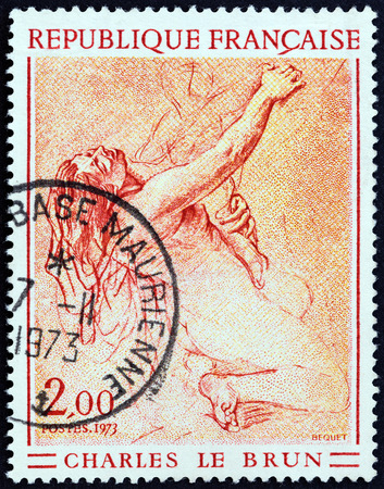 theorist: FRANCE - CIRCA 1973: A stamp printed in France from the French Art  issue shows Study of a kneeling woman (Charles le Brun), circa 1973. Editorial