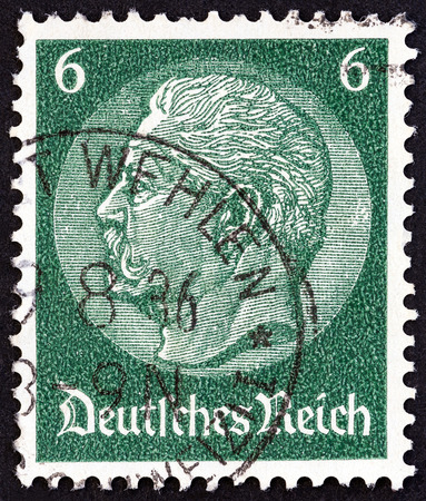 GERMANY - CIRCA 1933: A stamp printed in Germany shows President Paul von Hindenburg, circa 1933.