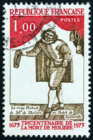 postes: FRANCE - CIRCA 1973: A stamp printed in France issued for the 300th death anniversary of Moliere shows Moliere as Sganarelle, circa 1973. Editorial