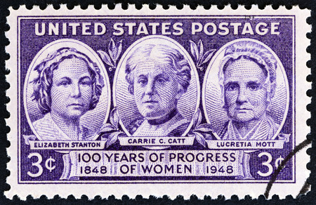chapman: USA - CIRCA 1948: A stamp printed in USA from the Progress of American Women  issue shows Elizabeth Stanton, Carrie Chapman Catt, and Lucretia Mott, circa 1948.