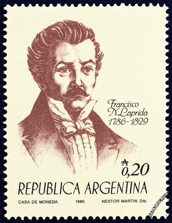 dr: ARGENTINA - CIRCA 1986: A stamp printed in Argentina from the 100th anniversary of the Birth of Independence. Heroes  issue shows Dr. Francisco Narciso de Laprida, circa 1986. Editorial