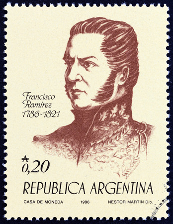 sello: ARGENTINA - CIRCA 1986: A stamp printed in Argentina from the 100th anniversary of the Birth of Independence. Heroes  issue shows General Francisco Ramirez, circa 1986.