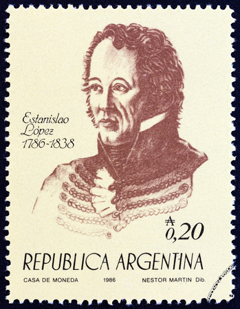 ARGENTINA - CIRCA 1986: A stamp printed in Argentina from the 100th anniversary of the Birth of Independence. Heroes  issue shows Brigadier General Estanislao Lopez, circa 1986.