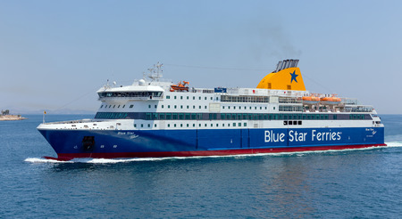 ferry boat: Ferry boat Blue Star Patmos Editorial