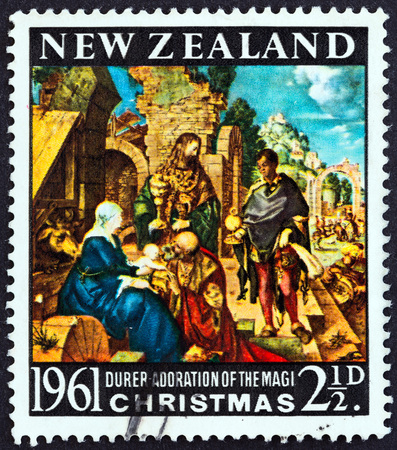 adoration: NEW ZEALAND - CIRCA 1961: A stamp printed in New Zealand from the Christmas  issue shows Adoration of the Magi by Albrecht Durer, circa 1961.