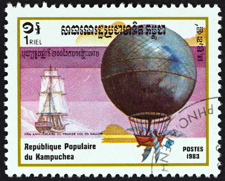 kampuchea: KAMPUCHEA - CIRCA 1983: A stamp printed in Kampuchea from the 200th anniversary of Aviation  issue shows Blanchard and Jeffries crossing the English channel, 1785, circa 1983.