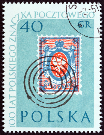 postmark: POLAND - CIRCA 1960: A stamp printed in Poland from the 100th Anniversary of Polish Stamps  issue shows Polish 10k Stamp of 1860 and Postmark, circa 1960.
