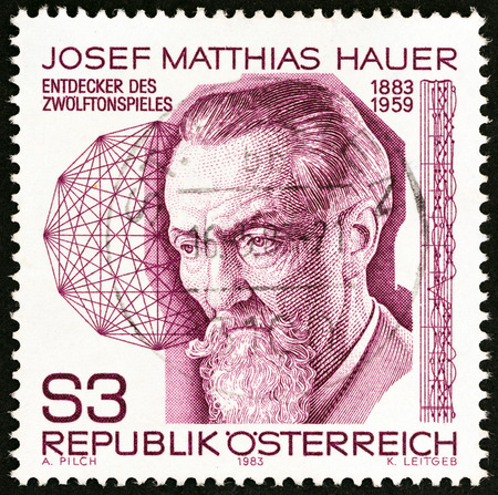 theorist: AUSTRIA - CIRCA 1983: A stamp printed in Austria issued for the birth centenary of Josef Matthias Hauer (composer) shows Josef Matthias Hauer, circa 1983. Editorial