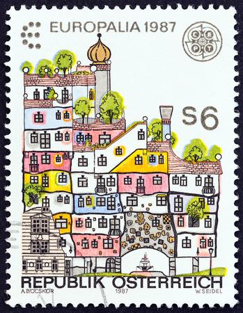 republik: AUSTRIA - CIRCA 1987: A stamp printed in Austria from the Europa and Europalia 1987 Austria Festival, Belgium  issue shows Hundertwasser House, Vienna, circa 1987.