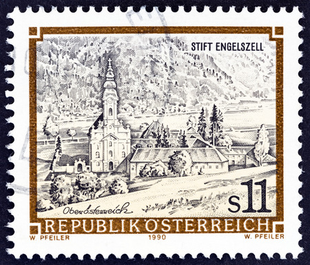 abbeys: AUSTRIA - CIRCA 1990: A stamp printed in Austria from the Monasteries and Abbeys issue shows Engelszell Monastery, circa 1990.
