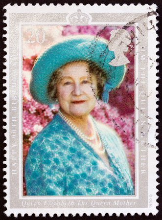 UNITED KINGDOM - CIRCA 1990: A stamp printed in United Kingdom issued for the 90th birthday of the Queen Mother shows Queen Elizabeth the Queen Mother, circa 1990.