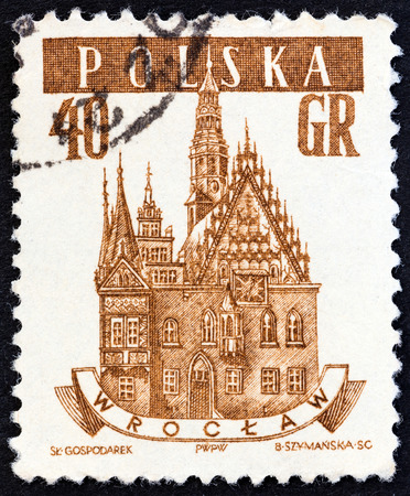 town halls: POLAND - CIRCA 1958: A stamp printed in Poland from the Ancient Polish Town Halls issue shows Town Hall, Wroclaw, circa 1958.