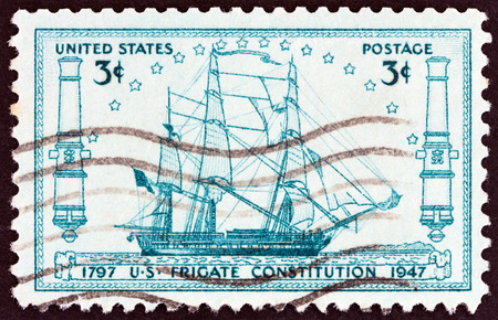 timbre: USA - CIRCA 1947: A stamp printed in USA issued for the 150th anniversary of launching of frigate U.S.S.Constitution shows frigate U.S.S.Constitution, circa 1947.