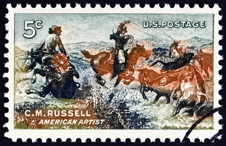 centenary: USA - CIRCA 1964: A stamp printed in USA issued for the birth centenary of artist Charles Marion Russell shows Jerked Down, circa 1964.
