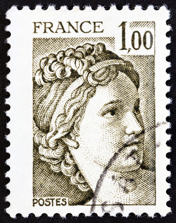 postes: FRANCE - CIRCA 1979: A stamp printed in France from the Kidnapping of the Sabines issue shows Sabine painting by Jacques-Louis David, circa 1979.