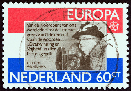 wilhelmina: NETHERLANDS - CIRCA 1980: A stamp printed in the Netherlands from the Europa issue shows Queen Wilhelmina (1880-1962), circa 1980.